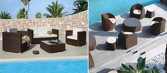 Decoraci n con muebles de rattan la web de los for Mobiliario piscina